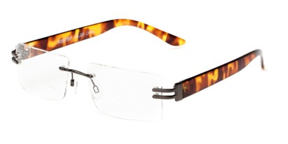 Angle of The Politician Bifocal in Grey and Tortoise, Women's and Men's Rectangle Reading Glasses
