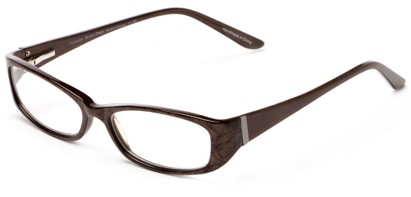 Angle of The Briar Customizable Reader in Brown Marble, Women's and Men's Retro Square Reading Glasses