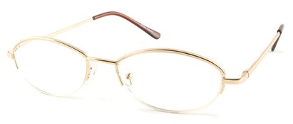 Angle of The Fort Wayne in Gold, Women's and Men's Oval Reading Glasses