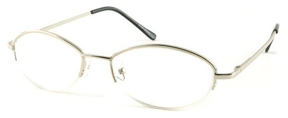 Angle of The Fort Wayne in Silver, Women's and Men's Oval Reading Glasses