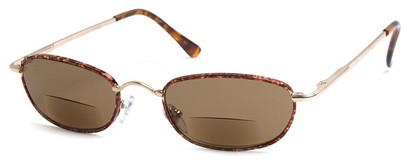 Angle of The Harris Bifocal Reading Sunglasses in Gold Frame with Amber Lenses, Women's and Men's