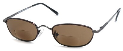 Angle of The Harris Bifocal Reading Sunglasses in Grey Frame with Amber Lenses, Women's and Men's