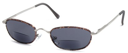 Angle of The Harris Bifocal Reading Sunglasses in Silver Frame with Smoke Lenses, Women's and Men's
