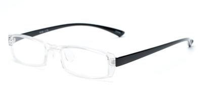 Angle of The Elspeth in Clear/Black, Women's and Men's Rectangle Reading Glasses