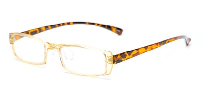 Angle of The Elspeth in Yellow/Tortoise, Women's and Men's Rectangle Reading Glasses