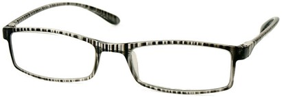 Angle of The Sawyer in Grey Stripe, Women's and Men's Rectangle Reading Glasses
