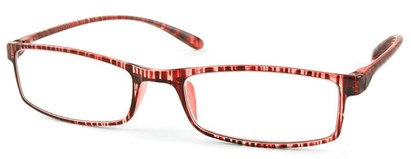 Angle of The Sawyer in Red Stripe, Women's and Men's Rectangle Reading Glasses