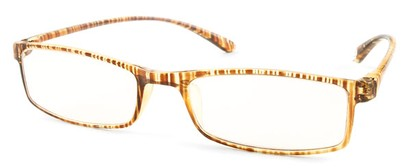 Angle of The Sawyer in Tan Stripe, Women's and Men's Rectangle Reading Glasses