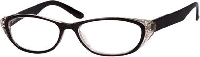 Angle of The Becca in Black/Clear, Women's and Men's Retro Square Reading Glasses