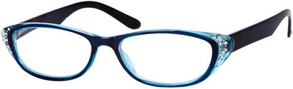 Angle of The Becca in Blue/Clear, Women's and Men's Retro Square Reading Glasses