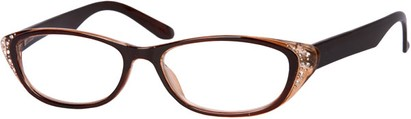 Angle of The Becca in Brown/Clear, Women's and Men's Retro Square Reading Glasses