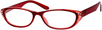 Angle of The Becca in Red/Clear, Women's and Men's Retro Square Reading Glasses