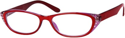 Angle of The Becca in Red/Purple, Women's and Men's Retro Square Reading Glasses