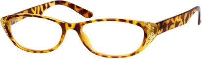 Angle of The Becca in Yellow Tortoise, Women's and Men's Retro Square Reading Glasses