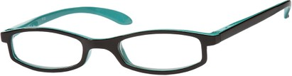 Angle of The Devonshire in Black/Aqua Blue, Women's Rectangle Reading Glasses