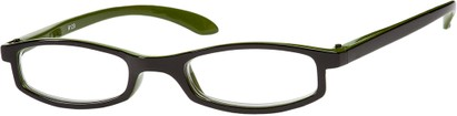 Angle of The Devonshire in Black/Green, Women's Rectangle Reading Glasses