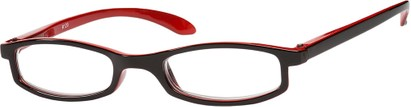Angle of The Devonshire in Black/Red, Women's Rectangle Reading Glasses
