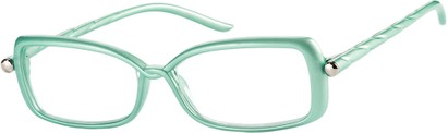 Angle of The Anita in Green, Women's Square Reading Glasses