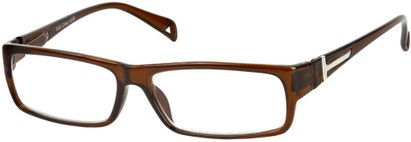 Angle of The Chase in Brown, Women's and Men's Rectangle Reading Glasses