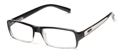 Angle of The Executive in Black Fade/White, Men's Rectangle Reading Glasses