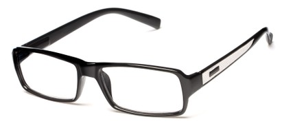 Angle of The Executive in Black/White, Men's Rectangle Reading Glasses