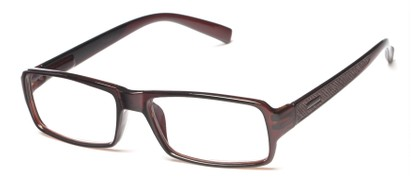 Angle of The Executive in Brown/Brown, Men's Rectangle Reading Glasses