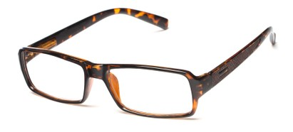 Angle of The Executive in Tortoise/Brown, Men's Rectangle Reading Glasses