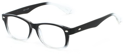 Angle of The Orson in Black/Clear, Women's and Men's Retro Square Reading Glasses