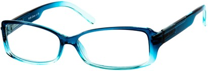 Angle of The Courtney in Blue Fade, Women's Rectangle Reading Glasses