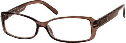 Angle of The Courtney in Brown, Women's Rectangle Reading Glasses