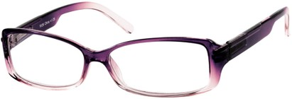 Angle of The Courtney in Purple Fade, Women's Rectangle Reading Glasses