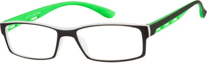 Angle of The Zionsville in Green, Women's and Men's Rectangle Reading Glasses