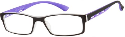 Angle of The Zionsville in Purple, Women's and Men's Rectangle Reading Glasses