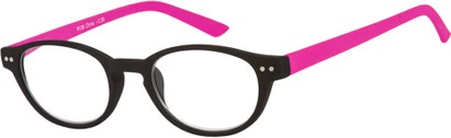 Angle of The Winston in Black/Pink, Women's and Men's Round Reading Glasses