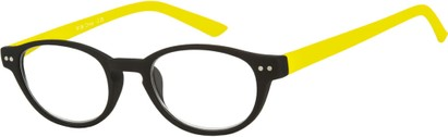 Angle of The Winston in Black/Yellow, Women's and Men's Round Reading Glasses