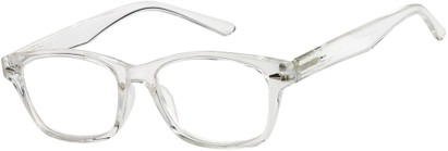 Angle of The Camden Dual Power Computer Reader in Clear, Women's and Men's Retro Square Reading Glasses