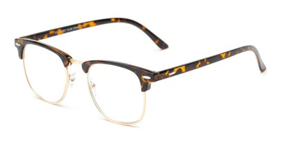 Angle of The Kirby in Tortoise, Women's and Men's Browline Reading Glasses