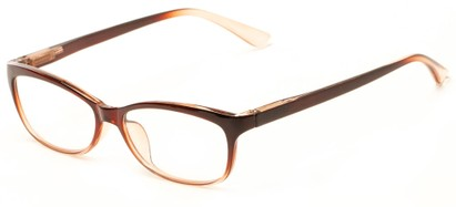 Angle of The Taffy in Brown Fade, Women's and Men's Rectangle Reading Glasses