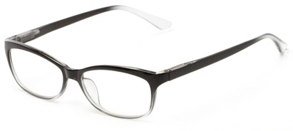 Angle of The Taffy in Black Fade, Women's and Men's Rectangle Reading Glasses