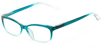 Angle of The Taffy in Teal Fade, Women's and Men's Rectangle Reading Glasses