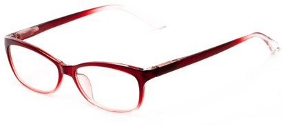 Angle of The Taffy in Red Fade, Women's and Men's Rectangle Reading Glasses