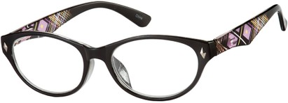 Angle of The Rebecca in Black, Women's Oval Reading Glasses