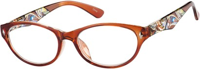 Angle of The Rebecca in Brown, Women's Oval Reading Glasses