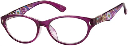 Angle of The Rebecca in Purple, Women's Oval Reading Glasses