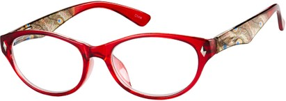 Angle of The Rebecca in Red, Women's Oval Reading Glasses