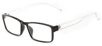 Angle of The Edgar in Black/Clear, Women's and Men's Rectangle Reading Glasses