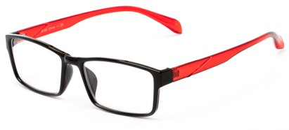 Angle of The Edgar in Black/Red, Women's and Men's Rectangle Reading Glasses