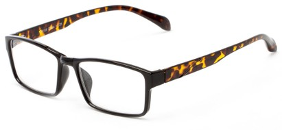 Angle of The Edgar in Black/Tortoise, Women's and Men's Rectangle Reading Glasses