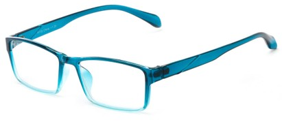 Angle of The Edgar in Teal Fade, Women's and Men's Rectangle Reading Glasses