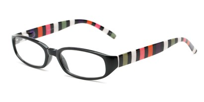 Angle of The Dory in Black/Stripe, Women's Rectangle Reading Glasses